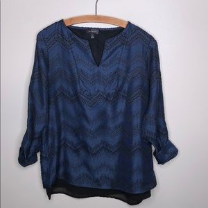 The Limited Black Blue Embroidered Blouse Top